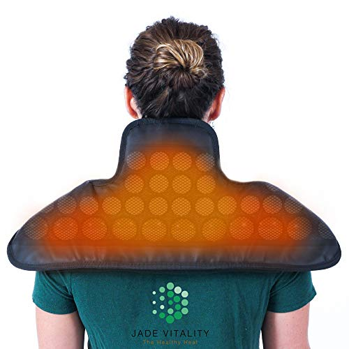 Jade Heating Shoulder Wrap for Back and Neck Pain Relief   Far Infrared Jade Tourmaline Pad   58 Stones, Digital Control, Travel Bag and USA Support   NO EMF   Size 26 x 22 Inches for Clinical Use