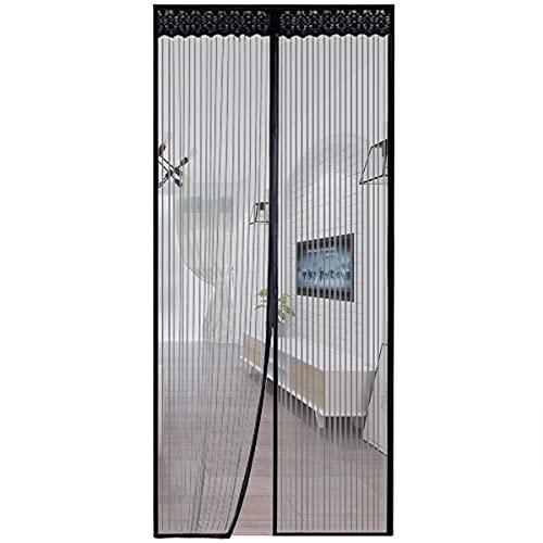 mosquitera puerta puertas malla de pantalla duradera, fácil de instalar mejor marco velcro magnético, mantener insectos fuera se adapta a la apertura de la puerta hasta 90cm x 210cm