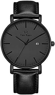 Vigor Rigger - Reloj para hombre de acero inoxidable y piel auténtica, movimiento de cuarzo japonés y lente de cristal mineral, 98.4ft, resistente al agua