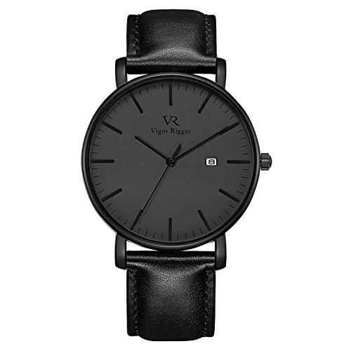 Herren Uhr Vigor Rigger Herren Quarzuhr ultradünne Schwarz Armbanduhr für Herren Classic Minimalistisches Design mit Datum Kalender und Edelstahl Armband