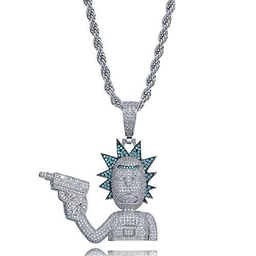 MENGKE Punk-Stil Cartoon Charaktere Rick und Morty Charakter Persönlichkeit Hip-Hop-Anhänger voller Zircon Großen Halskette Zubehör,Silber