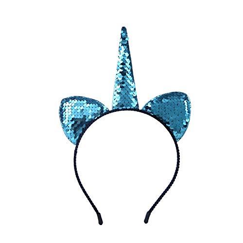 Diadema De,1Pc Cumpleaños Fiesta Lentejuelas Unicornio Azul Lentejuelas Orejas Diadema Niños Pelo Floral Cabeza De Sombrero Corona Gato Orejas Diademas Accesorios Navidad Decoración Suministros Fe