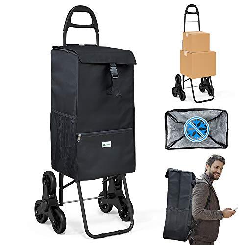 VOUNOT Einkaufstrolley Treppensteiger mit Kühlfach, Einkaufswagen Klappbar mit 3 Räder, 35 L