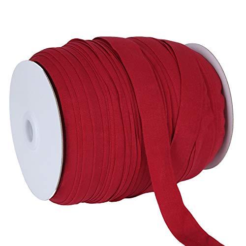 100 Yards 3/4 Inch Single Fold Bias Tape, Wide Fold Bias Binding Tape, Red Sewing Bias Tape, Elastic Bias Binding Tape for Mask Making, Seaming, Hemming, Piping, Quilting, DIY Garment Accessories