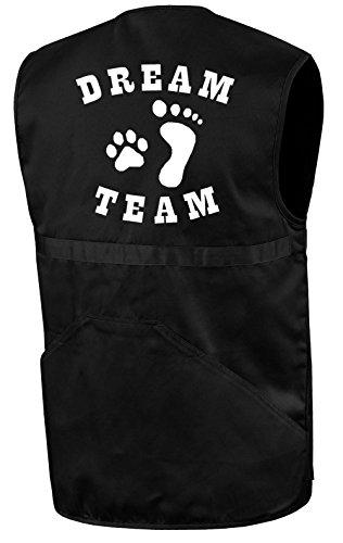 Hundesportweste   Dream Team   Schwarz   Brust- und Rückendruck   Größe XL