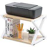 FITUEYES Soporte para Impresora Madera Oak 2 Capas X-Estructura Organizador de Escritorio para Oficina Casa 45.5x30.3x29.7cm DO204506WO