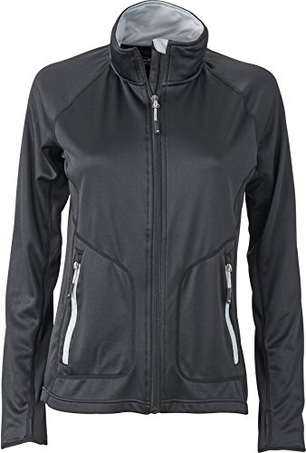 James & Nicholson FaS50763 Damen Fleecejacke Stretch atmungsaktiv Daumenloch Jacke Fleece, Größe:M;Farbe:Black/Silver