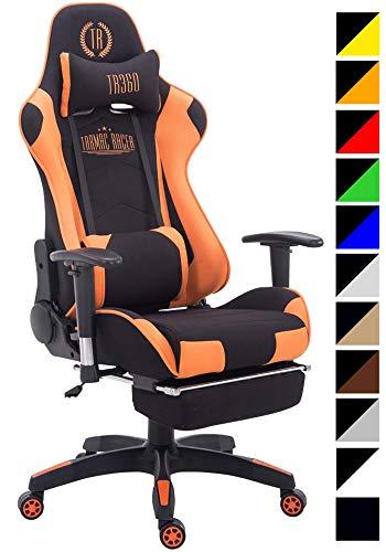 CLP Sedia Gaming Turbo in Similpelle Stoffa O Similpelle Effetto Metallico I Poltrona Racing, Colore:Nero/Arancione, Materiale:Stoffa