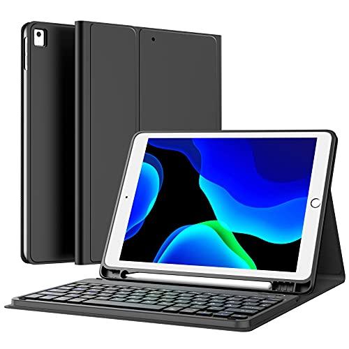 Earto Tastatur Hülle für iPad 9. Generation 2021, iPad 8 Gen Hülle mit Tastatur, Abnehmbar Kabellose Tastatur für iPad 7. Gen/Air 3. Gen/Pro 10,5, Deutsches QWERTZ-Layout, mit Pencil Halter, Schwarz