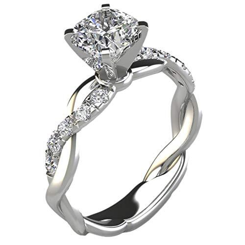 Zhangjie Rings for Women Teen Girls, Silver Exquisite Rings Wedding Ring Jewelry Gifts Rose Diamond Rings Birthday Gifts for Women Girls