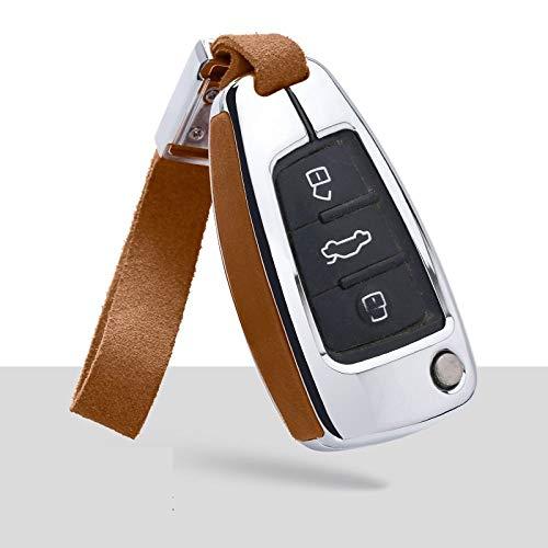 HEZHOUJI, Auto Chiave Case, Portachiavi in pelle per auto, supporto per portachiavi per Audi A3 8L 8P A4 B6 B7 B8 A6 C5 C6 4F RS3 Q3 Q7 TT, 06