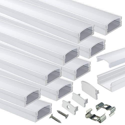 Muzata 10Pack 6.6ft/2M U Shape LED Aluminum Channel System with Milky White Cover, Silver Aluminum Extrusion Profile Housing Diffuser Track for Strip Tape Light U1SW WW 2M, LU1 L2M