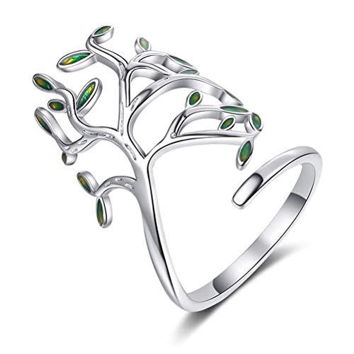 Merkts Olivenbaum-Ring, Kunstblatt-Ring, Olivenbaum-Ring, verstellbar, offener Ring, Modeschmuck, Geschenk für Frauen und Mädchen