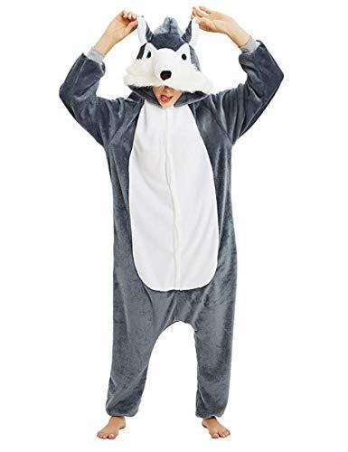 LATH.PIN Unisex Karneval Tierkostüme Cosplay Kostüme Tier Jumpsuits Pyjama Onesie Schlafanzug Nachtwäsche mit Kapuze Erwachsene Für Halloween Weihnachten Fasching (Grauer Hund, S)