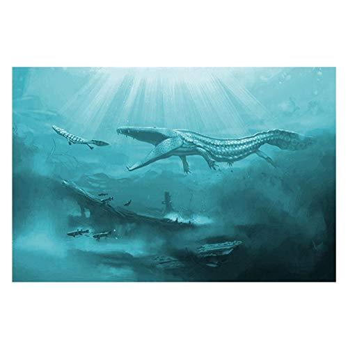 Wzadxy Leinwand Holzmalerei Leinwanddrucke Bilder für Wohnzimmer Wandkunst 1 Stück Unterwasser Alte Tiere Malerei Home Decor Dinosaurier Krokodil Poster