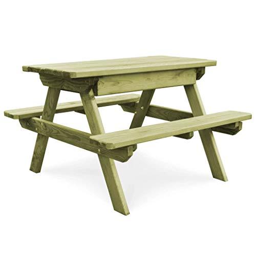 Tidyard Picknicktisch mit Bänken Bierbank Picknickbank Bank Tisch Gartentisch Sitzgruppe Picknicktisch Campingmöbel Set 90×90×58 cm Kiefernholz Imprägniert