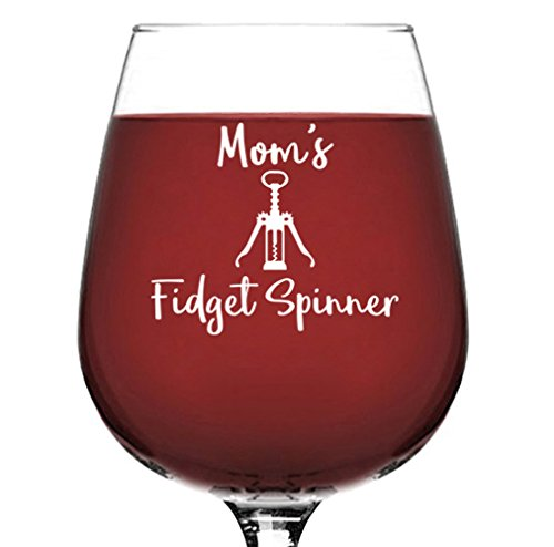 Funny Mom Gifts - Wine Glass: Mom's Fidget Spinner - Best Mother's Day Gifts for Mom, Women - Unique Gag Birthday Gift Idea from Husband, Son, Daughter - Fun Novelty Present for Wife, Friend, Sister