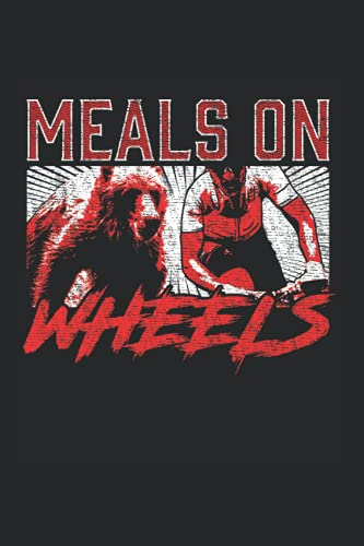 Wheels: Meals On Wheel Funny Bear Chasing Forest Biker Notebook 6x9 Inches 120 dotted pages for notes, drawings, formulas | Organizer writing book planner diary