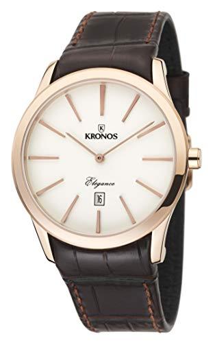KRONOS - Elegance Rose 973.34 -Reloj de Caballero de Cuarzo, Correa de Piel marrón, Color Esfera: Beige