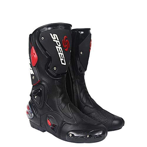 CYCPACK Motorista Botas Hombres Negro - Botas De Moto Impermeable con Protectores De Cáscara Dura La Empotrados Estrella La Protección Antideslizante Botas De Motocross De Carreras,EU43(UK8)
