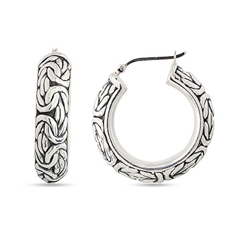 LeCalla Sterling Silver Jewelry Byzantine Inspired Click Top Hoop Earrings for Women