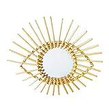 Espejo de Baño, Espejo de Pared Dorado Retro Marco de Ratán de Latón Circular, Espejo de Maquillaje Baño Espejo Decorativo Colgante Redondo 40cm