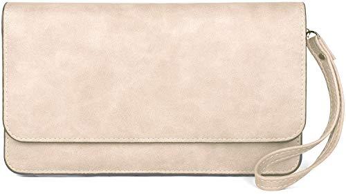 styleBREAKER Damen Clutch mit Überschlag und Trageschlaufe, Abendtasche, Portemonnaie 02012259, Farbe:Creme-Beige