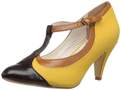 Pin Up Couture Damen Peach03/Ylmcpu Kleid Pumps, Gelb (Gelb, mehrfarbiges Kunstleder.), 39 EU