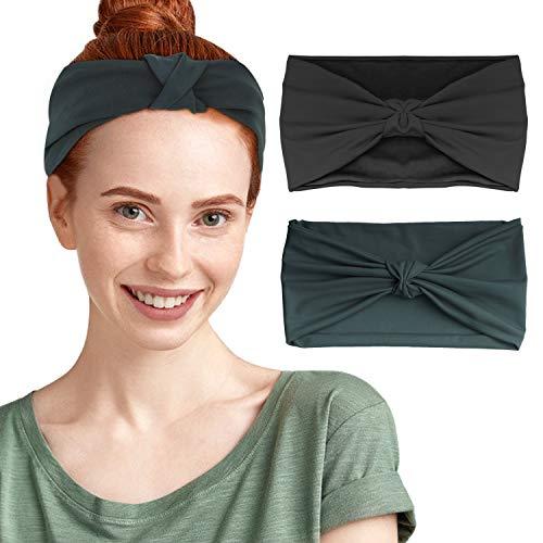 MoKo Multifunktionstuch Stirnband Headband für Damen Herrn, 2 Pack Leicht Nahtlos Schweißband Kopftuch Schlauchschal Halstuch Haarband für Fahrrad Sport Fitness Laufen Yoga, Schwarz & Indigo