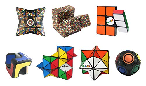 Rubik's Cube Toy Set of 7; Magic Star Spinner, Infinity Cube, Spin Cubelet, Spin Block, (2) Magic Stars and Rainbow Ball; Brain Teaser, Addictive & Educational Puzzles, Great & Fun Gift