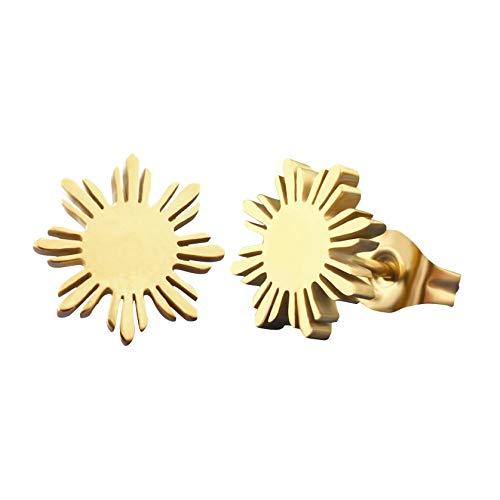 Philippine Flag Sun earrings, Filipino pride studs, Pinoy heritage jewelry (Gold)