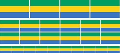 Mini Aufkleber Set - Pack glatt - 4 x 51x31mm+ 12 x 33x20mm + 10 x 20x12mm- Sticker - Fahne - Gabun - Flagge-Banner-Standarte fürs Auto, Büro, zu Hause & die Schule - Set of 26