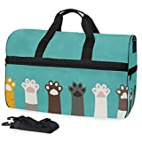 KUWT Animal Cat Dog Paw Print Travel Duffel Bag for Women Men Sport Gym Bag with Shoes Compartment Overnight Weekend Bag