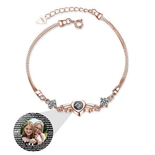 Pulsera De Plata 925 I Love You 100 Idiomas Con Foto Brazalete Con Imagen Personalizada Para Mujer Compromiso De Cumpleaños Collar Del Día De La Madre Pulsera (Rose gold15-6.5+1.18)