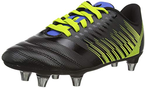 Canterbury Stampede 3.0 Junior Soft Ground Rugby Shoe, Black/Lime Punch/Victoria Blue, 4 UK