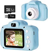 Vbepos Kids Camera, Digital Video Camera Toys for 3-12 Year Old Boys Girls, 1080P HD Action Camera Toddler Recorder Gift with 32GB SD Card for Indoor Outdoor Party Games, Blue