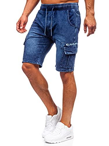 BOLF Hombre Pantalón Corto Vaquero Deportivo Denim Shorts Bermudas Pantalón de Algodón Corto Sombreado Rotos Tejano Verano Slim Fit Estilo Urbano 6281 Azul Oscuro L [7G7]