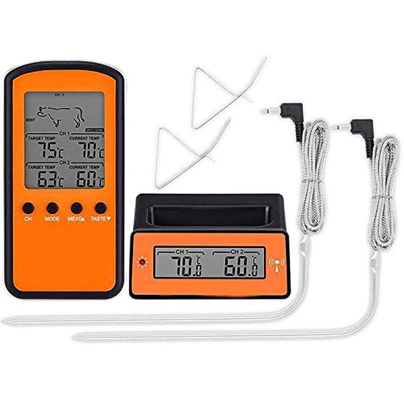 フライカイト落とし穴展示会グリル喫煙BBQキッチン温度計のための肉食品オーブン温度計を、料理ワイヤレスリモートデュアルプローブデジタル