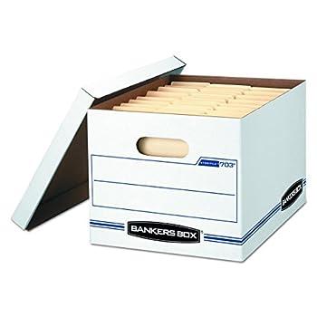 Bankers Box STOR/FILE Storage Boxes Standard Set-Up Lift-Off Lid Letter/Legal Case of 12  00703 ,WHITE/BLUE