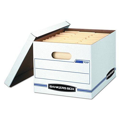 Bankers Box STOR/FILE Storage Boxes, Standard Set-Up, Lift-Off Lid, Letter/Legal, Case of 12 (00703),WHITE/BLUE