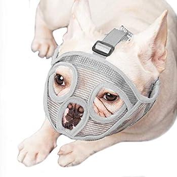 ILEPARK Muselière pour Chiens à museau Court, muselière Bulldog Anti-mordillage, Mastication, aboiement, Masque pour Chien (S,Gris)