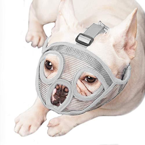 ILEPARK Bozal para Perros de Hocico Corto, Bozal de Bulldog Anti-Mordiscos y Ladridos, Máscara para Perros (M,Gris)