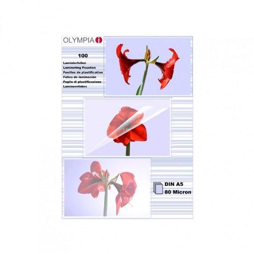 Olympia 9167, lamineringsfolie, DIN A5, 80 mic, 100 stycken, glänsande/transparent, passar alla varmlamineringsapparater