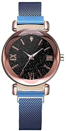 JZDH Mano Reloj Reloj de Pulsera de Lujo Rosa Rosa Relojes Fashion Ladies Starry Sky Magnético Reloj Magnético Casual Malla de Acero Rhinestone Mujer Reloj de Pulsera Relojes Decorativos Casuales