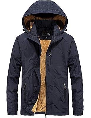 Pinkpum Men's Lightweight Winter Jacket with Detachable Hood Sherpa Lined Outwear Navy S