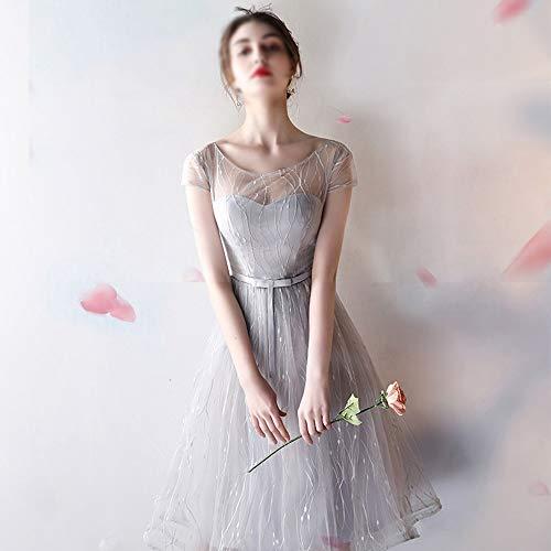 ZSRHH-Kleid Frauenkleid Mittellange Spitze ärmellose Abendgesellschaft Maxi Brautkleid Frauen (Farbe : Gray-A, Size : XXL)