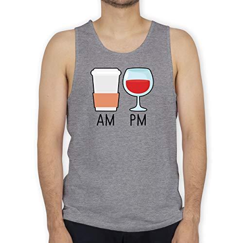 Shirtracer Statement - Am Pm Kaffee und Wein - schwarz - 3XL - Grau meliert - Morgen - BCTM072 - Tanktop Herren und Tank-Top Männer
