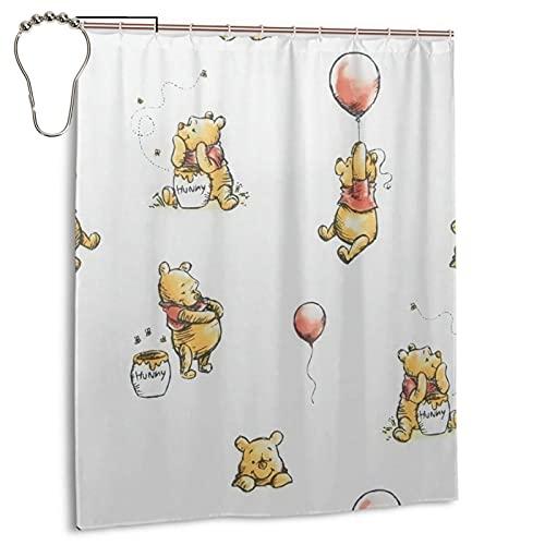 Winnie the Pooh Duschvorhang, Badezimmer Trennvorhang, starke wasserdichte Fähigkeit, 12 Haken 60 x 72 Zoll Home Creative Eisen