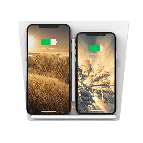 AutomóVil Cargador InaláMbrico para Tesla Model 3/S/X/Y Panel de Accesorios de La Consola Central, 10w Qi Smartcarga InduccióN RáPida Almohadilla(White) para Iphone Samsung Note 10/S10/S9/S8