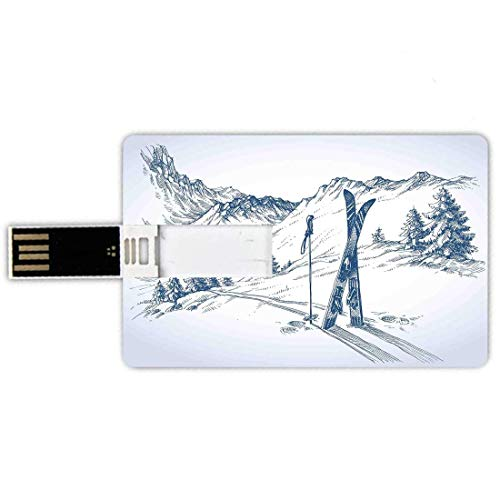 Memorias USB 4G Forma de tarjeta de crédito Tarjeta de memoria de invierno Estilo de tarjeta de banco Gráfico incompleto de un descenso con elementos de esquí en la nieve Relájese Vista tranquila, Azu
